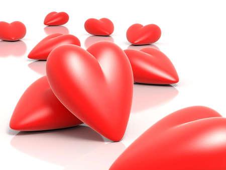inlove: 3D rendered hearts illustration Stock Photo