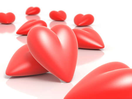 inlove: 3D hearts illustration with depth of field effect.