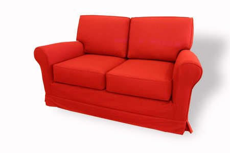 red sofa: red sofa on white background