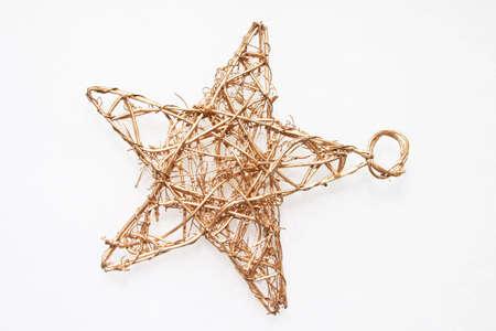 Christmas straw star on white