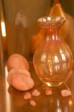 orange stones with orange vase Stock Photo - 265827