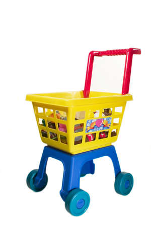 toy shopping chariot on white background Stock Photo