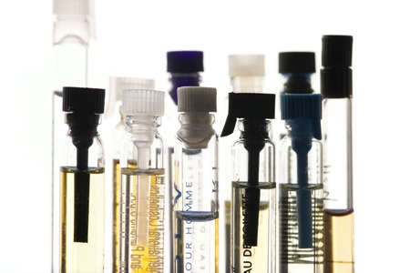 bottles of perfume samples isolated