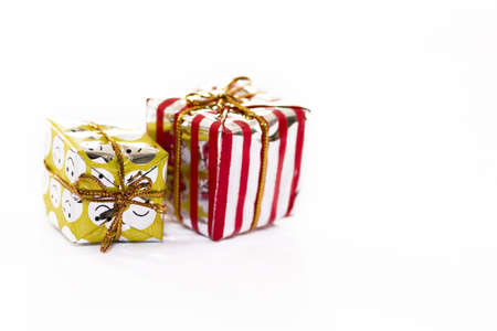 Isolated couple of Christmas presents Stock Photo