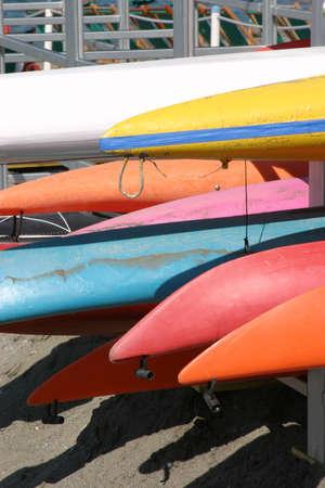 colorful canoas photo