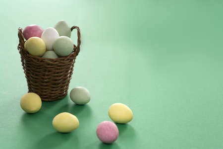 Easter eggs with wooden basket Stock Photo - 341674