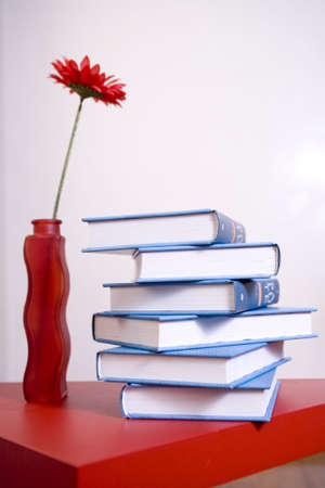 encyclopedia on red table with red gerbera Stock Photo