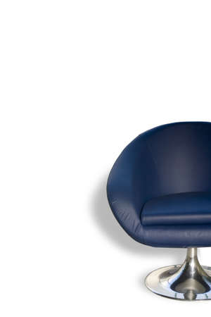 blue modern half armchair on white background Stock Photo - 569533