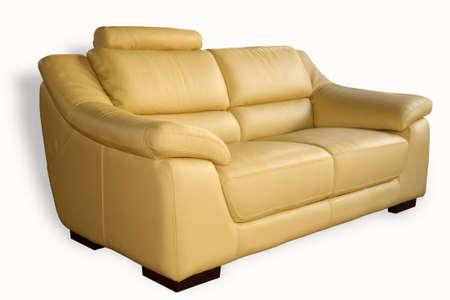 Comfortable leather sofa isolated on white background Stock Photo - 929682