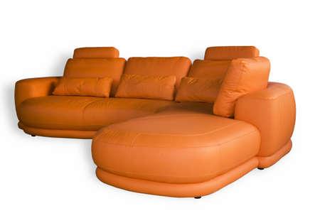 Comfortable leather sofa isolated on white background Stock Photo - 929683