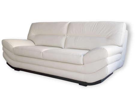 Comfortable leather sofa isolated on white background Stock Photo - 929684