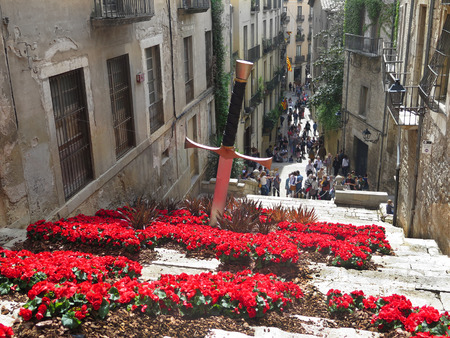 street decorated with flowers
