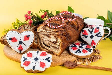 Sweet leavened bread, Romania and Bulgaria, 1st of March, 8th of March, Woman's Day, Mother's Day, Bulgarian Marta celebration Archivio Fotografico