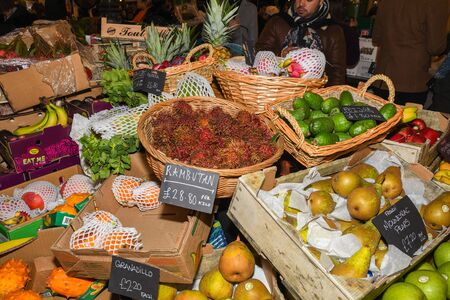 London, UK, 25th of January 2020: Fresh fruits in baskets at the Borough Market