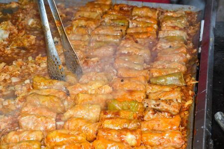 Cabbage rolls with meat, rice and vegetables.Stuffed cabbage leaves with meat.Chou farci,dolma, sarma, golubtsy or golabki. Top view,