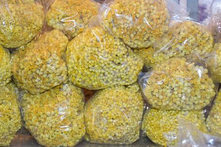 Chamomile flowers bouquet at the market