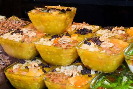 Zerde is a Turkish dessert, a sort of sweet pudding from rice that is colored yellow with saffron. It is a festive dish popular at weddings, birth celebrations, Persian language zard which means yello