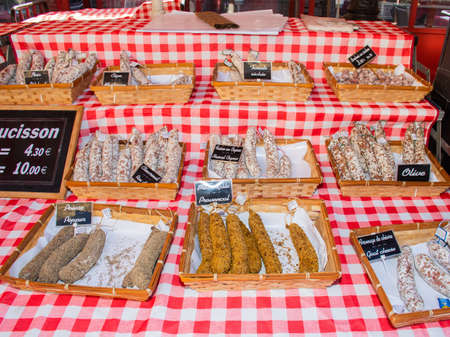 Nice, France, 24th of February 2020: Saucissons for sale meaning sausages for sale in Nice outdoor market Éditoriale