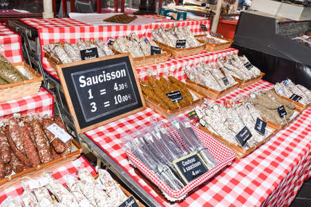 Nice, France, 24th of February 2020: Saucissons for sale meaning sausages for sale in Nice outdoor market