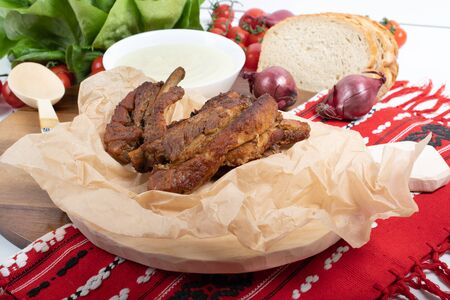 Juicy and fresh traditional Romanian pork ribs chops or