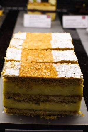 Various types of cakes, tart, mousse, pies for sale in bakery or pastry shop, gourmet luxury concept for candy bar. Happy birthday many slices of dessert specialties, luxury gourmet and elegant recipe