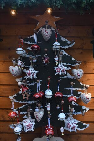 Christmas decorations in the shop, winter street market in Europe, Vienna, Austria. Merry Christmas concept