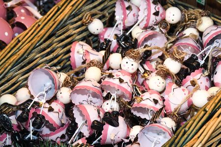 Christmas funny cute pink snowman decoration for Christmas. Tree ornaments for festive season