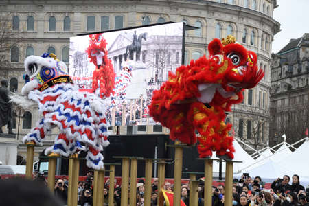 London, United Kingdom, 25th of January 2020: Chinese New Year is the Chinese festival that celebrates the beginning of a new year on the traditional Chinese calendar. Redakční