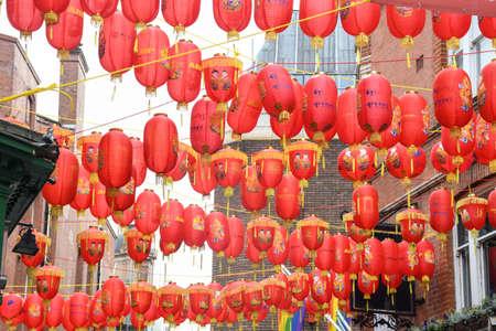 London, United Kingdom, 25th of January 2020: Chinese red lanterns illuminated lamps hanging during Chinese New Year's celebration