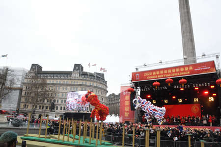 London, United Kingdom, 25th of January 2020: Chinese New Year is the Chinese festival that celebrates the beginning of a new year on the traditional Chinese calendar.
