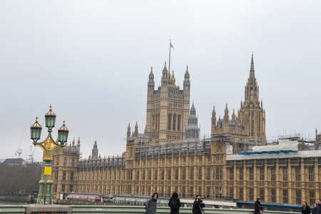 London, United Kingdom, 24th of January 2020: Big Ben with Houses of Parliament and Westminster bridge, London, UK