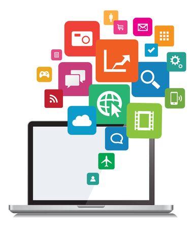 Laptop App cloud Network Design Illustration. Vectores