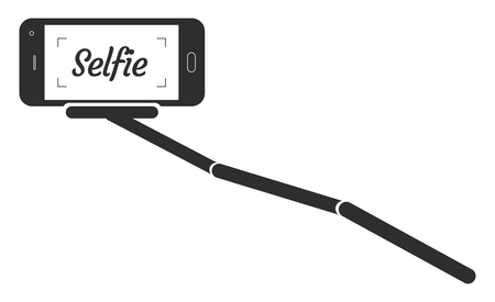 selfie: Monopod Selfie Portrait Smartphone App Illustration.