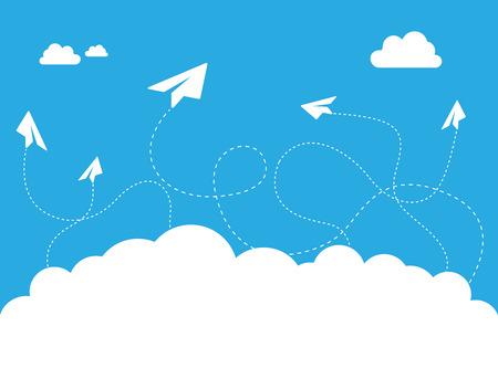 블루 스카이 디자인 그림 종이 비행기 구름.
