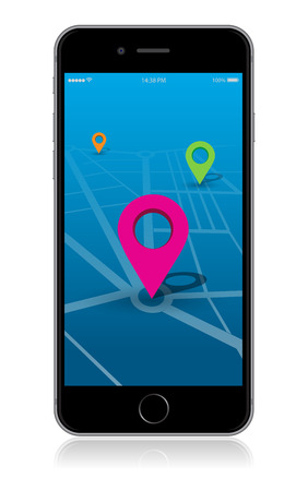 Detailed smartphone  map location app.