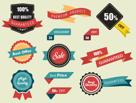 price sticker: Set of Labels, Stickers and Ribbons, vintage look and feel.