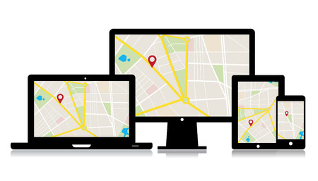 set of media technology devices with map location app.