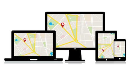 set van mediatechnologie apparaten met locatie op de kaart app.