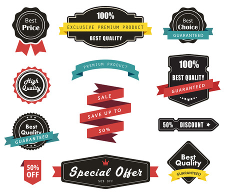 Vector set of Labels, Banners Ribbons and Stickers Çizim