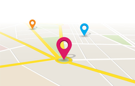 map location app Design Illustration. 向量圖像