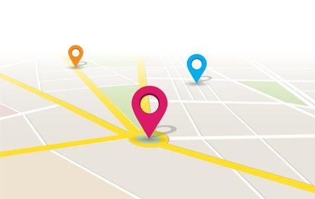 rotulador: mapa de localización de aplicaciones de diseño ilustración.