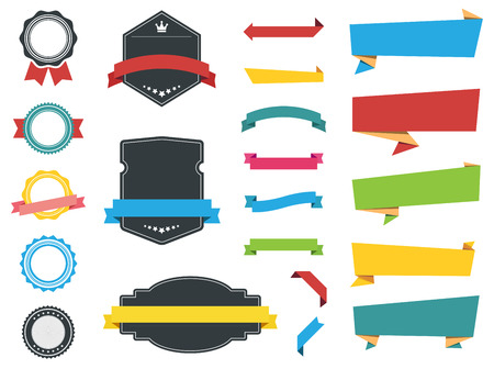 This image is a vector file representing Labels Banners and Stickers collection set.