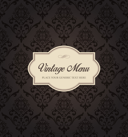 This image is a vector file representing a Seamless Damask Pattern Background Menu. Vectores