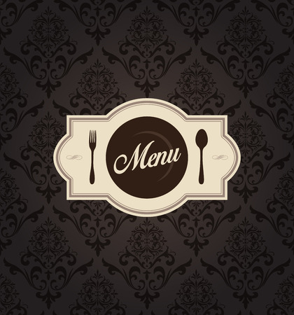 This image is a vector file representing a Vector Restaurant Menu Label with Background. Ilustracja