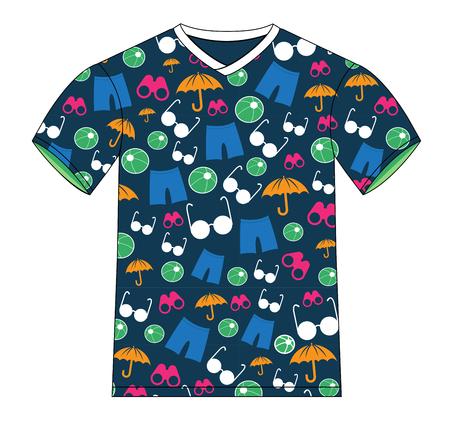 Deze afbeelding is een vector bestand wat neerkomt op een T-shirt van de zomer Patroon Vector Template Ontwerp Illustratie.