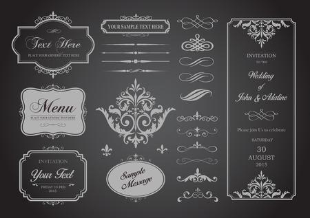 decoratif: Cette image est un fichier vectoriel représentant un ensemble Vecteur de frontières, Cadres et des intercalaires illustration de conception.