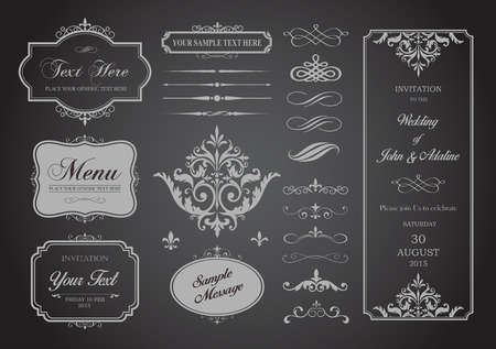This image is a vector file representing a Vector Set of Borders, Frames and Page Dividers design illustration.