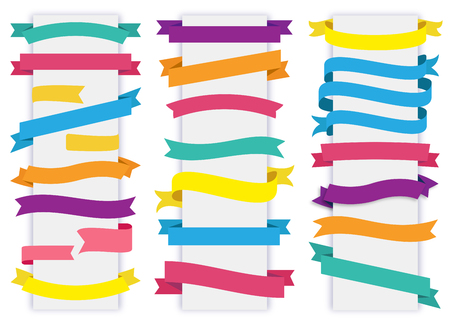 This image is a vector file representing a Label Tag Banner Ribbon Vector collection set. Vectores