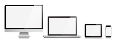 Esta imagen es un archivo vectorial que representa un monitor realista, ordenador, portátil, tableta y el teléfono Dispositivos vector.