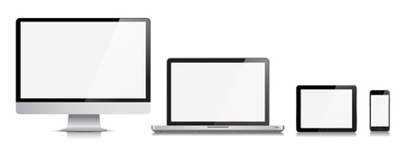 This image is a vector file representing a realistic Monitor, Computer, Laptop, Tablet and Phone Vector Devices.